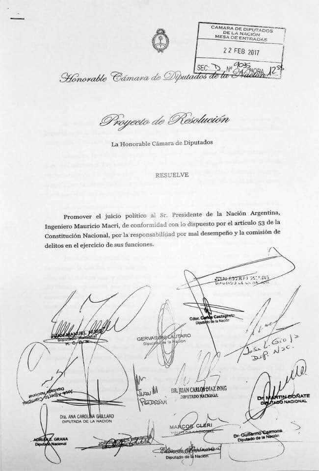 firmas pedido juicio politico