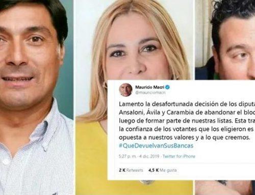 Macri califica de «traición» el alejamiento de tres diputados de Juntos por el Cambio